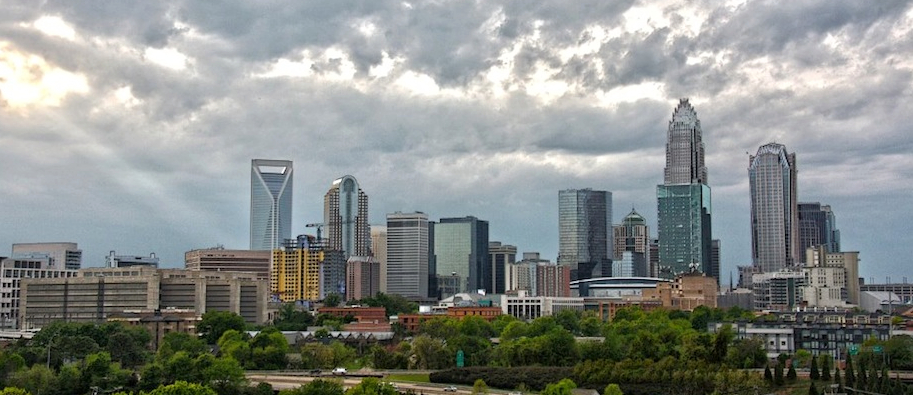 Uptown Charlotte Skyline View from Historic Elizabeth Community